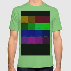 Blue, Pink, Yellow, Green  Mens Fitted Tee Grass SMALL