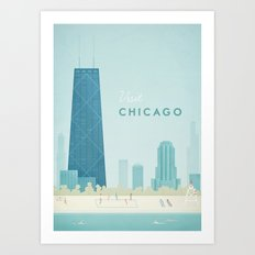 Vintage Chicago Travel Poster Art Print