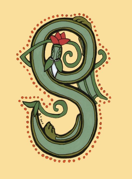 Celtic Dragon Letter S Canvas Print