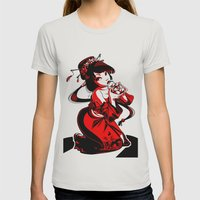Geisha Design Womens Fitted Tee Silver SMALL