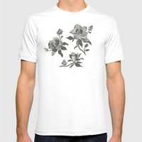 Black Magnolia Pattern Mens Fitted Tee White SMALL
