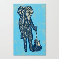 Elephant Guitar Player Canvas Print
