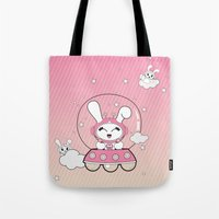 Space Bunny Flying Tote Bag