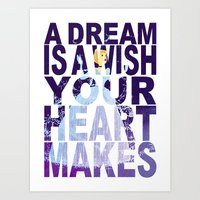 Disney's Cinderella A Dream is a Wish Your Heart Makes in Purple Art Print