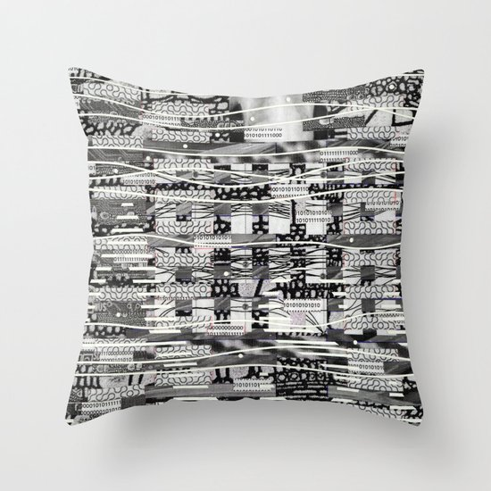 The System Affects The Information That Travels Through It (P/D3 Glitch Collage Studies) Throw Pillow