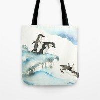 Jumping Penguins - Watercolor Tote Bag
