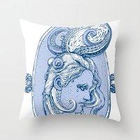 Octopus/girl in blue Throw Pillow