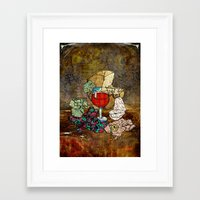 Framed Art Prints featuring Wine Still Life by Shpaginproject