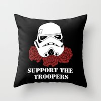 Support the Troopers Throw Pillow