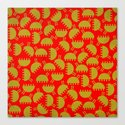 Happy green bugs on red. Canvas Print
