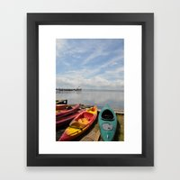 Bay Landscape With Canoe… Framed Art Print