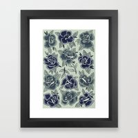 Dozen Roses - Blue Framed Art Print