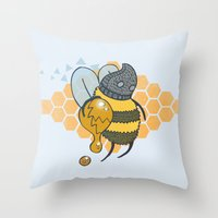 Bee Thief Throw Pillow