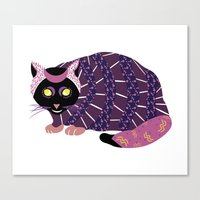 Abstract Cat [BLACK] Canvas Print