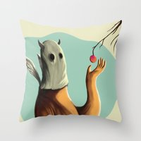 Collecting the fruit Throw Pillow