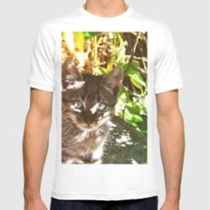 Cat in the shadows SMALL White Mens Fitted Tee