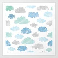 Watercolour Clouds Art Print