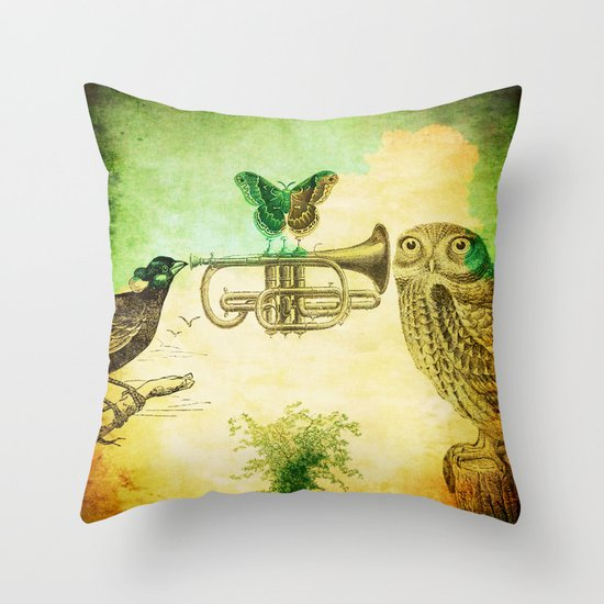 Music of birds Throw Pillow