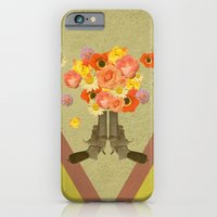 iPhone Cases featuring In my world, flowers come out of guns by AmDuf