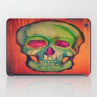 Watercolor skull/Green iPad Case