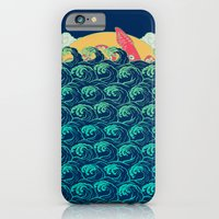 iPhone Cases featuring Squid on the waves by Julia Minamata