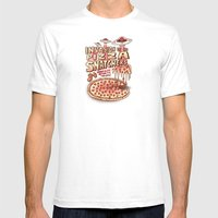 Invasion of the Pizza Snatchers Mens Fitted Tee White SMALL