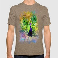 Jazzy Peacock Colorful Bird Art by Jai Johnson Mens Fitted Tee Tri-Coffee SMALL