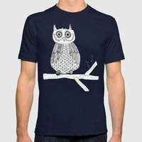 Pink Owl Gives A Hoot Mens Fitted Tee Navy SMALL