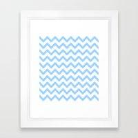 funky chevron blue pattern Framed Art Print