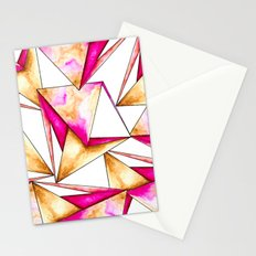Pink gold yellow watercolor triangles pattern Stationery Cards