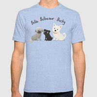 Custom Dog Art- Bella, Bulb, Bucky Mens Fitted Tee Tri-Blue SMALL