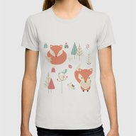 Baby Fox Pattern 01 Womens Fitted Tee Silver MEDIUM