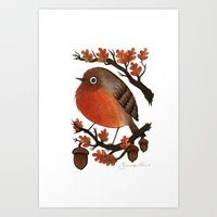 The Robin's Acorn Art Print