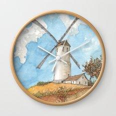 Windmill Against a Blue Sky Wall Clock