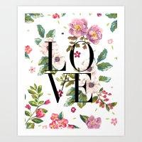 LOVE // Floral Typograph… Art Print