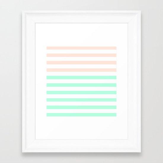 MINT & PEACH STRIPES Framed Art Print