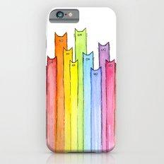 Cat Rainbow Watercolor Pattern iPhone 6 Slim Case