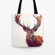Tote Bag featuring Red Deer // Stag by Amy Hamilton