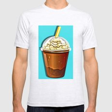 Iced Coffee To Go Pattern Mens Fitted Tee Ash Grey SMALL