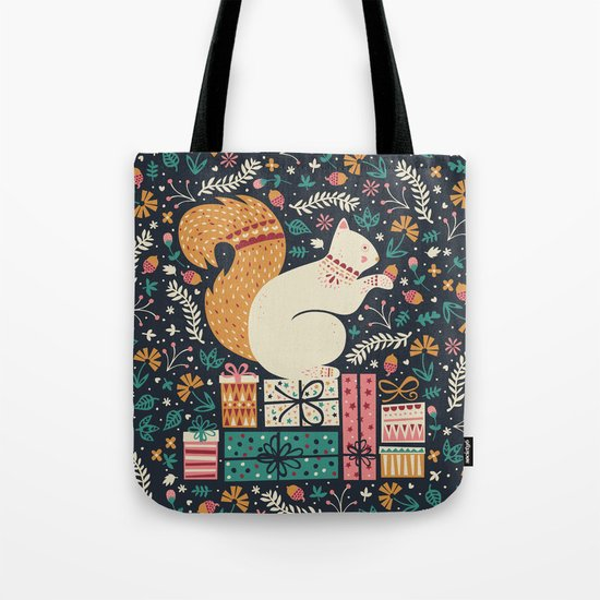 Merry Little Squirrel  Tote Bag