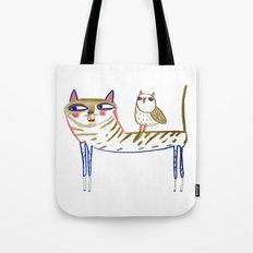 Cat And Owl, Cat Art, Ca… Tote Bag
