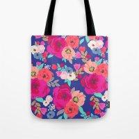 Sweet Pea Floral Blue Br… Tote Bag