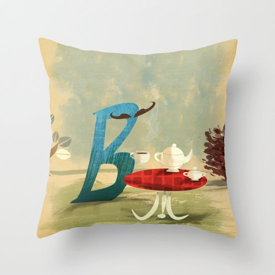 Time for Tea with Letter B Throw Pillow