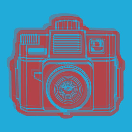 I Still Shoot Film Holga Logo - Blue & Red Art Print