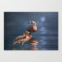 Flamingo Moon Canvas Print