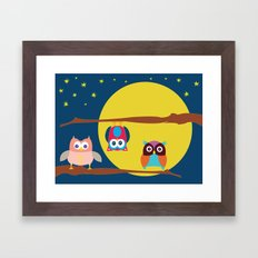 Cute Owls in the Night Framed Art Print