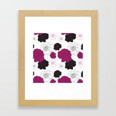 Black and Pink Roses on White Framed Art Print