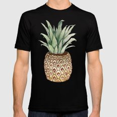 Pineapple Vase Mens Fitted Tee Black SMALL