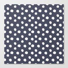 Brushy Dots Pattern - Navy Canvas Print