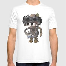 Musicbot SMALL White Mens Fitted Tee